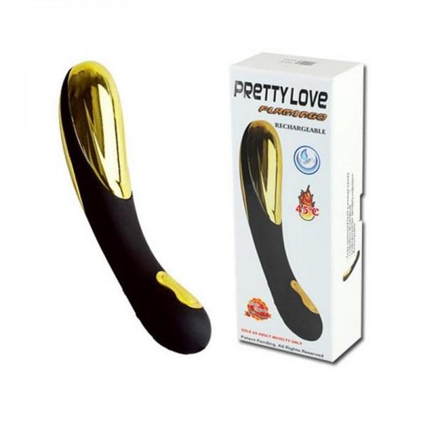 Luxus Vibrator FLAMINGO in schwarz/gold, beheiztbar auf Körperwärme Ø 3,3 cm 15 cm lang mit USB Lade